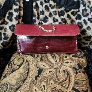 Red Wristlet Purse Gold Chain